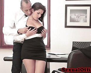 Busty office spex sweetheart receives ejaculation on tits