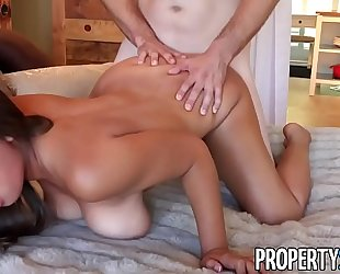 Propertysex - her large natural breasts impress potential client