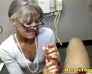 Granny older toying with rod