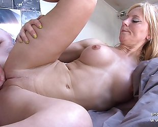 Amateur breasty french mama fucked and sodomized with cum on body by her neighbour