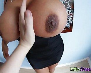 Big tittied floozy oils up