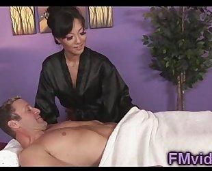 Asian honey asa akira engulfing jock after massage