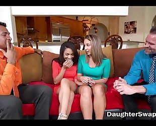 Two dad's acquiesce to fuck every others sexy legal age teenager daughters - daughterswaphd.com