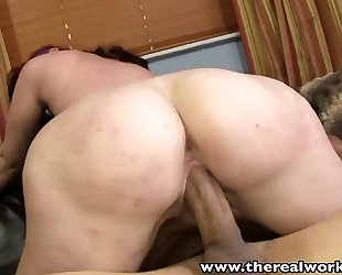 Therealworkout naturally breasty round booty hottie rides large dick
