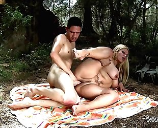 Busty mamma take stepson to the nature where brutally fuck his large ramrod