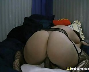 Chubby cheating wife masturbates with fake penis on cam
