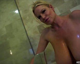 Big titty milf kelly madison takes her tatas for a bathroom
