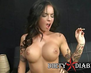 Pornstar christy mack rides large schlong during the time that smokin' cigar