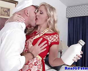 Mature golden-haired BBC slut titfucks the milkman