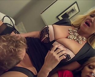 Kelly madison and julia ann double team a large white ramrod