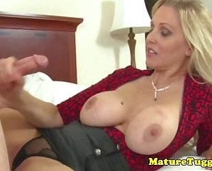 Classy cook jerking milf receives jizz flow on her melons