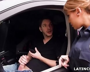 Latina officer caught on a dude jerking off in his car! - mercedes carrera