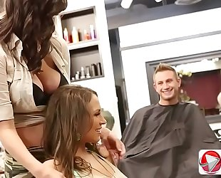 Barber customer has 2 large wang for lily love and holly michaels 1080p