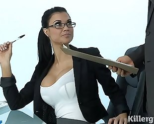 Sexy milf jasmine jae plays the office bitch addicted to hard pecker