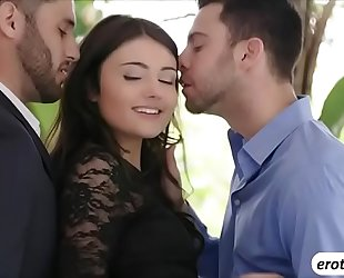 Brunette playgirl adria rae bonks 2 knobs in one discharged