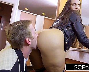 Slutty student mea melone blows her teacher in school crapper