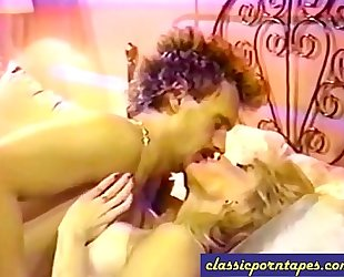Blonde wench in retro 80s movie scene
