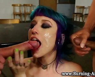 Goth punk housewife fuck and facial
