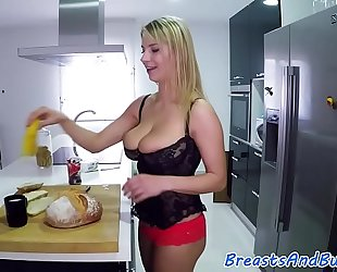 Glam bigtit honey group-fucked in the kitchen