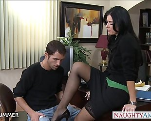 Stockinged india summer fucking on the desk