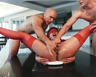 Girl in red stockings is forced to sex