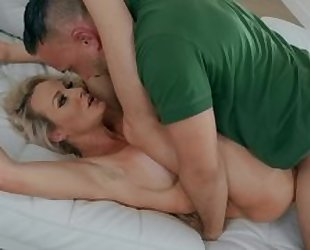 Mature hardcore sex act with her hubby after wild blowjob act