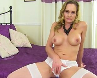 Mature shows pussy in panties, spread her legs and rub her pussy with pink sex toy