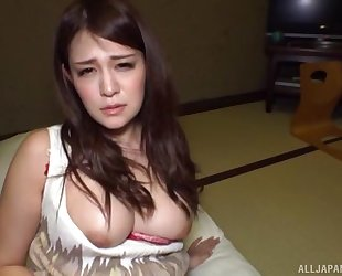 Astonishing Asian girl with big tits banged with her panties on