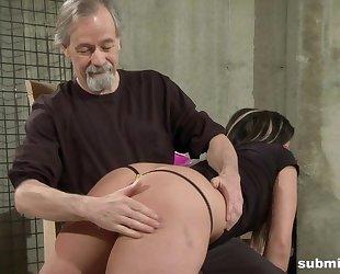 Pervy old man dominates over dark-haired vixen
