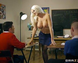 Bosomed teacher in black stocking seduced two skinny boys