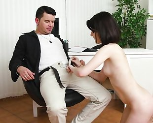 Dark-haired cutie with natural tits does anal with a great pleasure