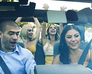 Three lubricious hotties getting fucked in the car