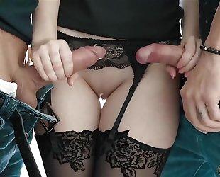 Amazing Italian girl in black stockings gets DPed in bed