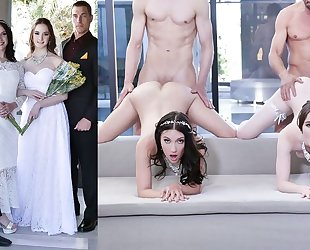 Beautiful brides with natural tits swapping their dads
