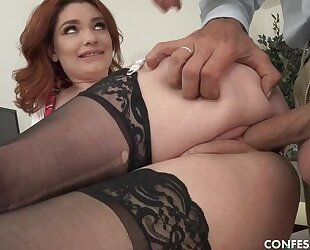 Curvy schoolgirl in stockings shagged by perverted old principle