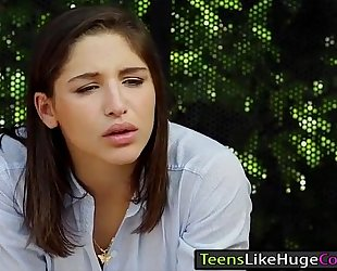 Teen abella danger is team-fucked at busstop