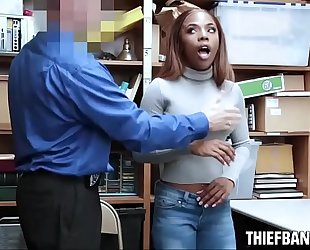 Ebony legal age teenager thief sarah banks caught stealing nude & drilled