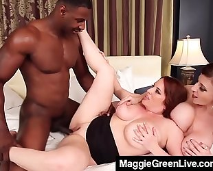 Curvy golden-haired maggie green & breasty milf sara jay fuck a wang!