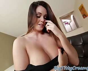 Tittyfucked breasty milf acquires ball cream on her bazookas