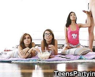 Stepbro copulates three hawt teenage besties!