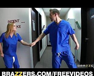 Slutty blond nurse sneaks off at work to team fuck a hospital intern