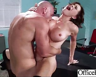 Round large wobblers horny white wife (krissy lynn) in sex scene in office clip-22