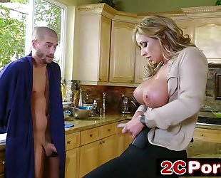Horny large tit milf policeman eva notty arrests large weenie fellow