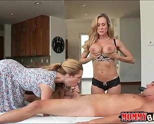 Taylor whyte and brandi love sharing wang on massage table